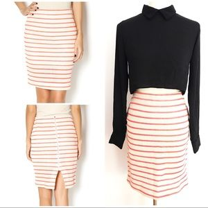 NWT J.O.A Los Angeles Striped Woven Knit Skirt